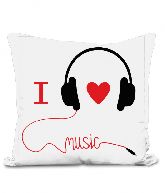 40cm Throw Cushion I love music